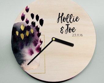 Trendy Clock / Unique Clock / Wedding Clock / Modern Clock / Couple Clock / Wooden Clock / Wall Clock