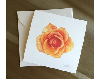 June Orange - Watercolor Rose Fine Art Note Card