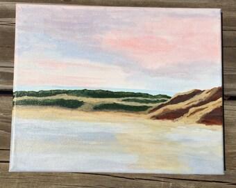 Pink sky, original acrylic painting,8x10 painting,