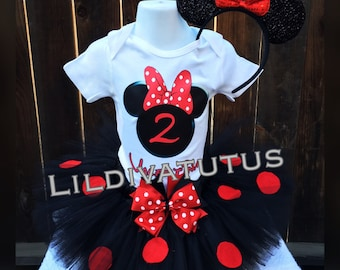 Handmade Red and Black Minnie Mouse Tutu Set
