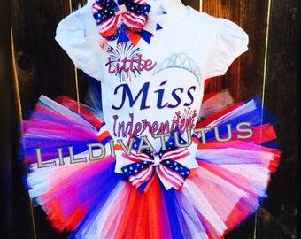 Little Miss Independent Tutu Set, 4th Of July Tutu Set , memorial weekend tutu