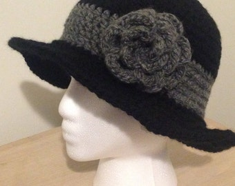 1920's Inspired Cloche Hat With Crocheted Rose, Bell Hat With Rose, Bell Hat, Cloche Hat, Crochet Hat