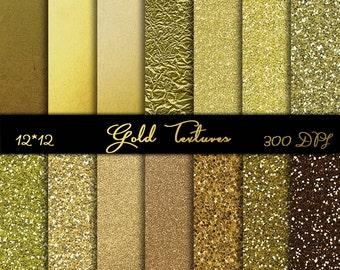 "Glitter Digital Textures Gold Digital paper pack Glitter Scrapbook Paper Instant download 12"" x 12"" Gold Glitter Digital background"