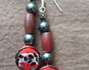 Red Black and Silver Lamp work glass