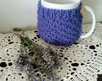Knitted Mug Cosy, Cozy, Cup Cosy, Coffee Cosy, Mug Hug, Home Decor. Wool, lavender, lilac, violet.