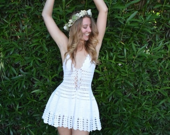 Lily of the Valley White Crochet Dress