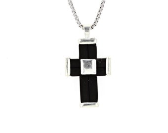 """Cross Pendant, Silver & Rubber InlayedCross  Pendant with 18"""" silver chain"""