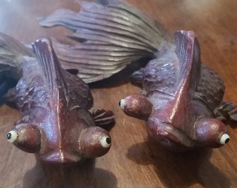 Hand Carved Wood Fantail Goldfish Pair