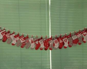 "Advent calendar stockings garland - ""Scandi"" design"
