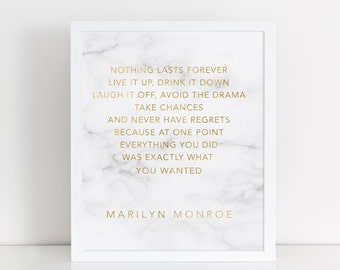 Real Gold Foil Print  with Marble background / Marilyn Monroe Quote Print / Chanel Print / Marble Print / Wall Art Print / Inspirational