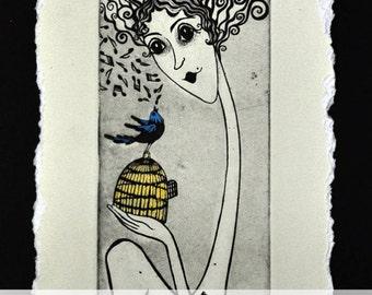 OriginalPrintmaking Etching Coloured Ecoline GoldGilding Woman Blue Bird Cage Key Letter Music Love Grace Coloured