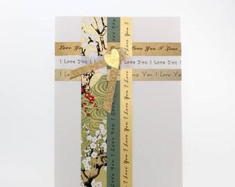 "Handmade Greeting Card - ""I Love You"" Woven Art Paper Strips"