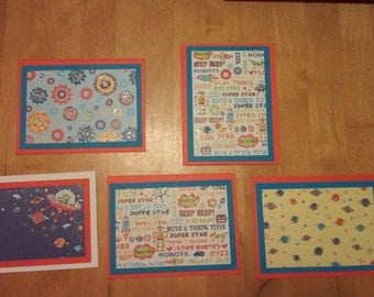 Outer Space and Robot Cards (set of five)