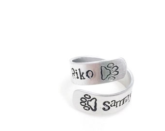 Custom Handmade Stamped Aluminum Wrap Around Ring | any two names and 1 design stamp | names of children, couples, or pets handmade jewelry