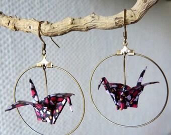 Origami crane liberty black, red, white earrings