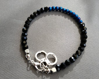 Crystal Thin Blue Line Bracelet