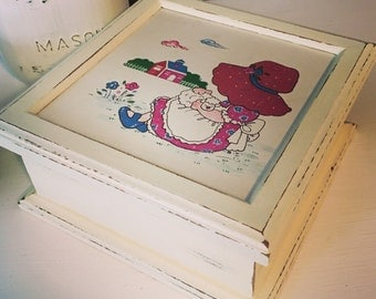 Vintage Holly Hobbie jewelry box - upcycled - antique white jewelry box