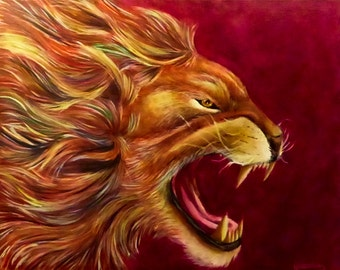 """ROAR! - Various Print Sizes - Original Acrylic Painting of a Roaring Lion with a Rainbow Mane on a Simple Background - 16""""x 20"""""""