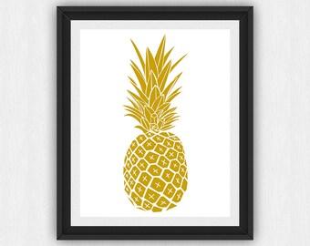 Pineapple Art, Gold Wall Prints, Spring Art, Pineapple Wall Art, Gold Prints, Gold Pineapple, Wall Prints, Printable Art, (Art361)
