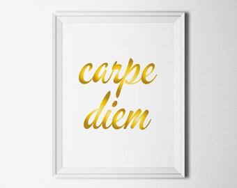 Carpe diem print Gold typography wall art Motivational print Modern poster inspirational Seize the day print Home decor wall art Latin print