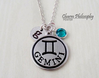 Gemini Zodiac Necklace - Monogram Personalized Initial and Birthstone - Antique Silver Horoscope Pendant