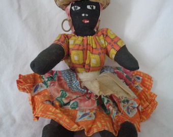 Caribbean Doll from Bermuda - Cloth Covering in Bright Costume with Fruit Basket