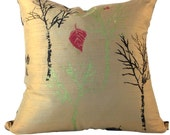 Black and Tan SILK Pillow Cover or Beige SILK Couch Pillow, 16x16, 18x18, 20x20