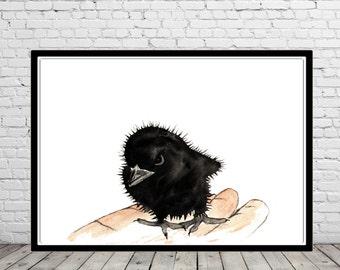 Dangerous baby raven, Raven, raven print,bird art, watercolor print, animal painting, watercolor painting, crow art , animal art(1915b)