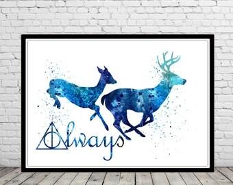 Harry Potter, Stag Patronus, Blue deer, watercolor print, watercolor painting, aquarelle, colorful, (1190b)
