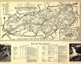 Map of Great Smoky Mountains National Park, North Carolina/Tennessee, trail map. 1940. Restoration Hardware Home Deco Style Old Reproduction
