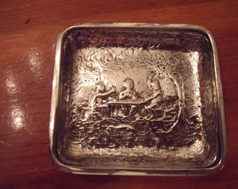 Moving Metal  with Scene Repousse Pin Tray Silver Plate