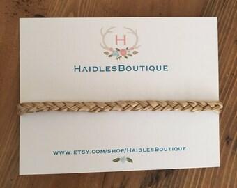 Braided Baby headband, baby headband, pink/green/ivory braid, elastic, Toddler, braided ribbon