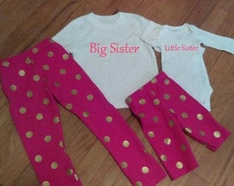 Free Shipping! Newborn, Toddler, Girl, Big sister, Little Sister, Matching Sets, Pant's, Top, Gold, Pink