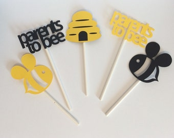 Parents to Bee cupcake toppers, Set of 12 Bee themed cupcake toppers, Bee Baby Shower Decor