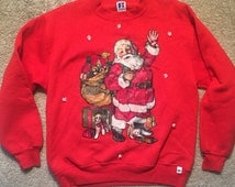 Custom Ugly christmas sweater cat and dog vintage sweatshirt Russell Athletics red party holiday shirt Santa Claus funny!