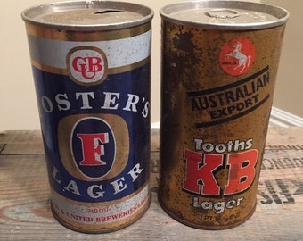 Rusty and dusty beer cans // Lot of 2 // Vintage beer cans // Tooths KB Lager // Big tall Pint cans // Foster Lager // Tall Boys