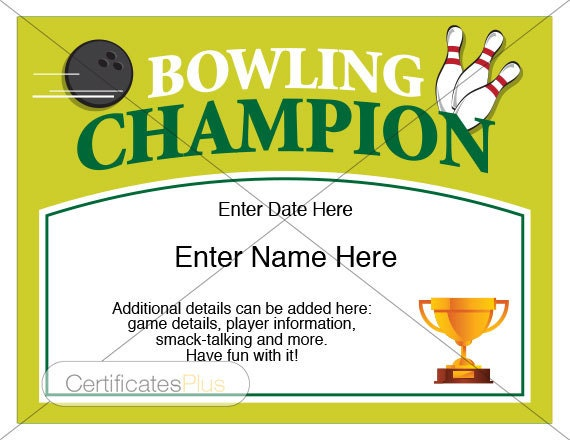 free hole in one certificate template - bowling certificate bowling trophy bowling award bowling