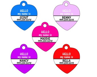 Personalized Pet Id Tag for Dogs and Cats, Name Tag w/ Your Pet's Name & Number