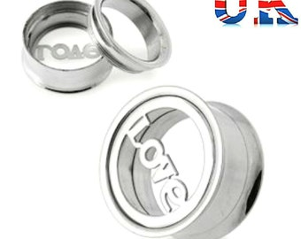 Screw Fit Love Logo Surgical Steel Ear Plug Flesh Tunnel Body Piercing 14mm (Single)
