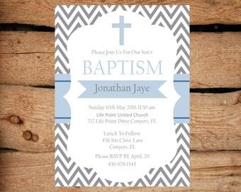 BOY BAPTISM Invitation / Blue Baptism Invitations / Printable Baptism Invitation / Chevron Baptism invitation / Christening Invitation