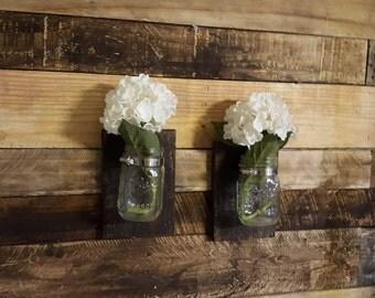 Mason Jar Sconce, Reclaimed Wood, Mason Jar Decor, Rustic Decor, Mason Jar Organization, Farmhouse Decor, Rustic Wall Art