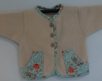 Beige Jacket with Floral trim-Childs size 4