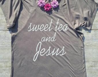 Sweet Tea and Jesus Flowy Raglan Tee