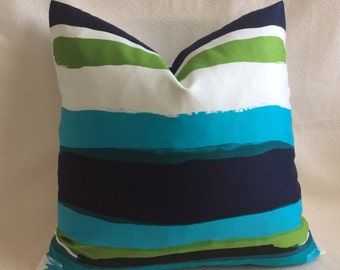 Modern Art Designer Pillow Cover II - Turquoise/ Green/ Black - 20x20 Square