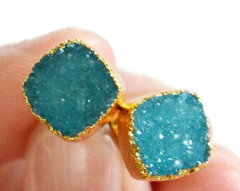 Aqua Blue Druzy Stud Earrings with Gold, Druzy Earrings, Gold Dipped Earrings, Gift for Her, Girl Gift, Mother's Day Gift, Gemstone Earrings