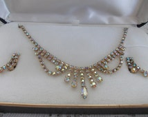 Vintage Sparkling Necklace and Screw Back Earrings Aurora Borealis Rhinestones Original Box