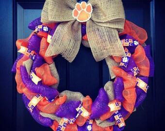 Custom Made Clemson University wreath