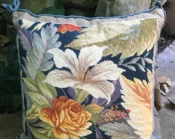 Navy White Floral Needlepoint Pillow