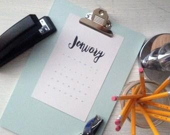2016 Wall calendar | wall planner, minimalist desk calendar, brush lettered calendar, wall calendar print, 2016 hand lettered calendar, 2016