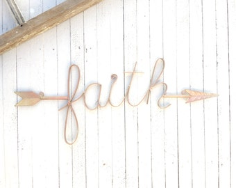 Iron Wall Decor, Faith, Love, Hope, Inspiring Signs, Iron Signs, Arrows, Home Decor, Customize